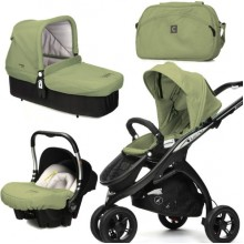 CasualPlay Set kočík Kudu 3 Black, autosedačka Baby 0plus, vanička Cot a Bag 2015 Grape