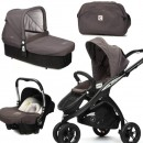 CasualPlay Set kočík Kudu 3 Black, autosedačka Baby 0plus, vanička Cot a Bag 2015 Lava Rock
