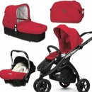 CasualPlay Set kočík Kudu 3 Black, autosedačka Baby 0plus, vanička Cot a Bag 2015 Raspberry
