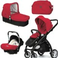 CasualPlay Set kočík Kudu 4 Black, autosedačka Baby 0plus, vanička Cot a Bag 2015 Raspberry